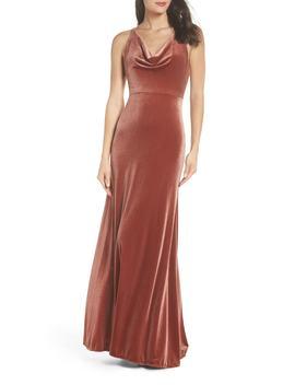 Sullivan Velvet Cowl Neck Gown by Jenny Yoo