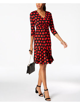 I.N.C. Polka Dot Ruffled Hem Dress, Created For Macy's by Inc International Concepts