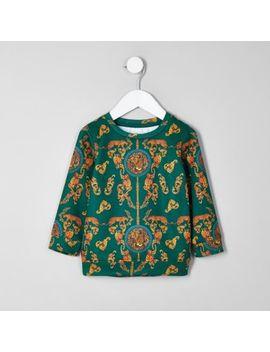 Mini Boys Green Baroque Sweatshirt by River Island