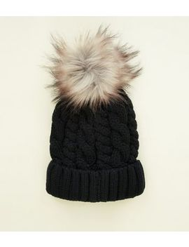 Black Cable Knit Bobble Hat by New Look