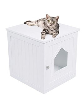 Internet's Best Decorative Cat House & Side Table | Cat Home Nightstand | Indoor Pet Crate | Litter Box Enclosure by Internet's Best