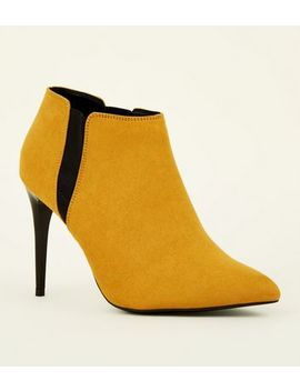 Mustard Suedette Stiletto Heel Chelsea Shoe Boots by New Look