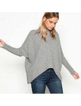 Nine By Savannah Miller   Grey Knitted Funnel Neck Jumper by Nine By Savannah Miller