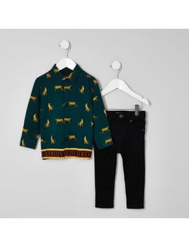 Mini Boys Green Print Shirt And Jeans Outfit by River Island