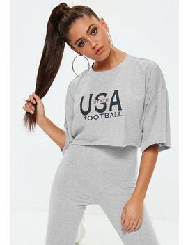 Camiseta Corta Con Hombros Caídos Usa En Gris by Missguided