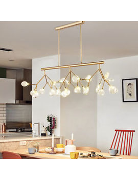 Deluxe Tree Branch Linear Pendant Light Clear Glass Shade Kitchen Island Lamp by Unbranded