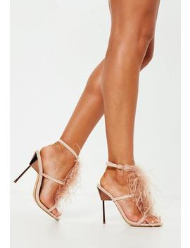 Nude Feather T Bar Metal Heeled Sandals by Missguided