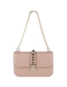 Rockstud Garavani Vitello Medium Glam Lock Beige Leather Cross Body Bag by Valentino