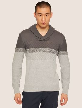 Mixed Stitch Shawl Collar Stripe Sweater by Armani Exchange