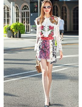 New Catwalk Fashion Milan Designer Runway 2018 Spring Women's Party Office Vintage Long Sleeves Lace Embroidery Half Skirt Set by Didacharm