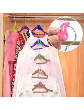10pcs Space Saver Flocking Hanger Hooks Clothes Rack Holder Wardrobe Organizer by Ebay Seller