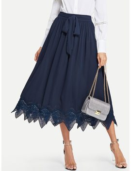 Eyelash Lace Hem Self Belted Skirt by Shein