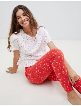 Brave Soul Christmas Tree And Candy Cane Trouser Set With Frill Top by Pyjamas