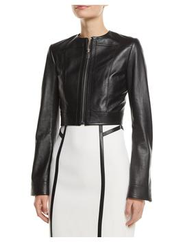Zip Front Cropped Plonge Leather Jacket by Michael Kors