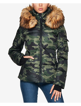 Kylie Faux Fur Trim Hooded Puffer Coat by S13