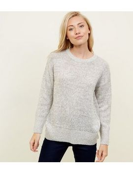 Petite Pale Grey Longline Knitted Jumper by New Look