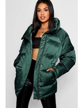 Matte Satin Puffer Jacket by Boohoo