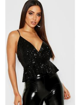 Premium Sequin Peplum Top by Boohoo