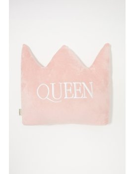 Embroidered Queen Crown Plush Pillow by Urban Planet