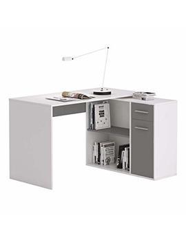 Caro Möbel Eckschreibtisch Lena Schreibtisch Computertisch In Weiß/Grau, Mit Regal, 120 X 75 X 91,5 Cm by Amazon
