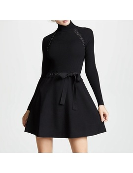 Black Knitted Dress Women Turtleneck Designer 2018 Fall Long Sleeve Bow Party Dresses by Dower Me