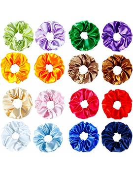 Aneco 16 Colors Silk Satin Hair Scrunchies Elastic Scrunchies Hair Bobbles Hair Ties Bands For Kids Adults by Aneco