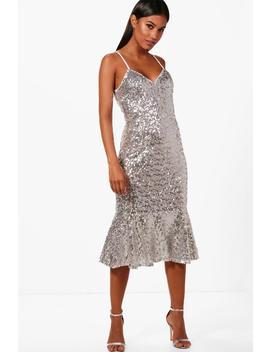 Boutique Sequin Frill Hem Midi Dress by Boohoo