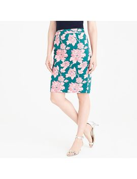 Printed Stretch Cotton Sateen Pencil Skirt by J.Crew