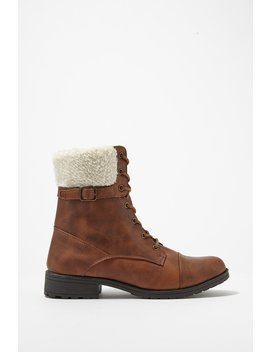 Sherpa Flap Lace Up Boot by Urban Planet