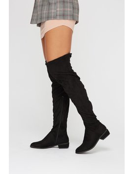 Over The Knee Lace Up Faux Suede Boot by Urban Planet