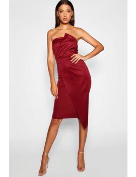 Tall Bandeau Wrap Detail Midi Dress by Boohoo