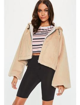 Petite Cream Balloon Sleeve Faux Fur Coat by Missguided
