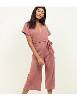 Mid Pink Brushed Soft Touch Wrap Jumpsuit by New Look