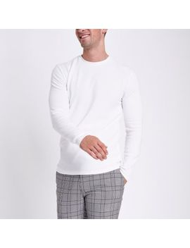 Ecru Slim Fit Textured Long Sleeve Top by River Island