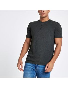 Grey Button Front Slim Fit T Shirt by River Island