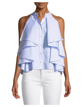 Adrie Sleeveless Button Front Striped Ruffled Blouse by Neiman Marcus