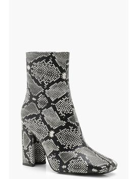 Wide Fit Snake Print Block Heel Sock Boots by Boohoo