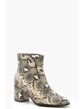 Wide Fit Block Heel Snake Shoe Boots by Boohoo