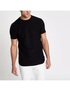 Black Slub Slim Fit T Shirt by River Island