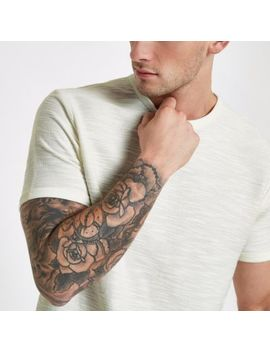 Ecru Short Sleeve Slub Slim Fit T Shirt by River Island