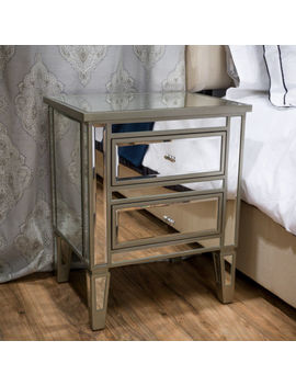 Graham Mirror Two Drawer End Table Nightstand by Gdf Studio