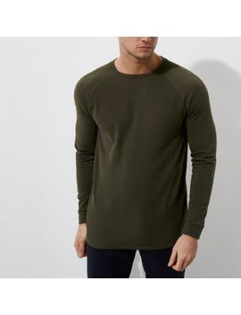 Dark Green Waffle Slim Fit Raglan Sleeve Top by River Island
