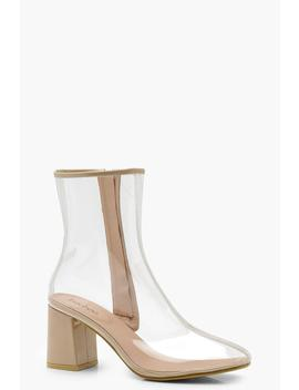 Clear Block Heel Shoe Boots by Boohoo