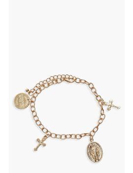 Cross & Sovereign Charm Bracelet by Boohoo