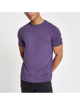 Purple Marl Slim Fit Crew Neck T Shirt by River Island