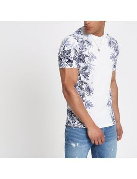 White Floral Slim Fit T Shirt by River Island