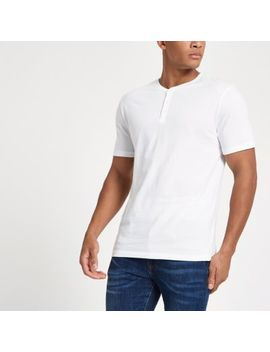White Button Front Slim Fit T Shirt by River Island