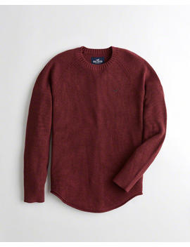Curved Hem Crewneck Sweater by Hollister