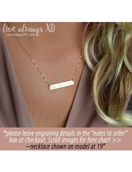 Bar Necklace, Custom Necklace, Gold Bar Necklace, Rose Gold Necklace, Custom Bar Necklace, Wedding Date Necklace by Etsy