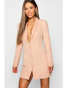 Petite Pearl Blazer Dress by Boohoo